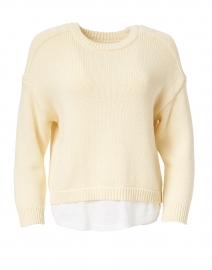 Corbin Buttercream Yellow Cotton Cashmere Looker Sweater