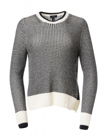 Black and White Wool and Cashmere Waffle Knit Sweater