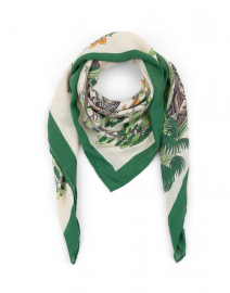 Green and White Safari Printed Silk Cashmere Scarf