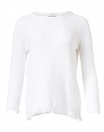Kinross - White Cotton Fringe Crew Neck Sweater