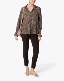 Repeat Cashmere - Khaki and Pink Paisely Print Stretch Silk Blouse