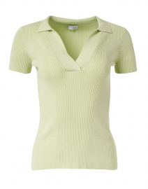 Light Green Mixed Stitch Polo Top