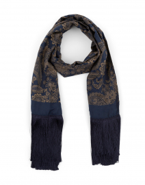 Barbian Navy and Gold Paisley Scarf
