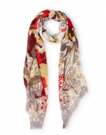 Harmony Red and Grey Floral Modal and Cashmere Scarf