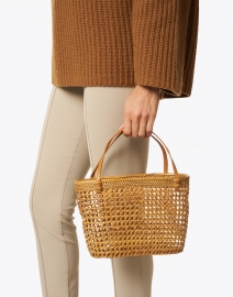 Bembien - Maya Natural Rattan and Leather Top Handle Bag