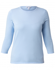 Cornflower Light Blue Cotton Crew Neck Sweater