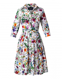 Audrey White and Red Botanical Print Shirt Dress