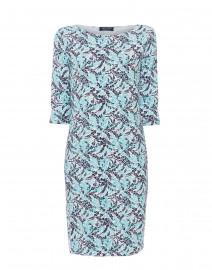Propri Imprim Navy and Aqua Leaf Printed Dress