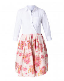 Elenat White and Pink Floral Jacquard Shirt Dress