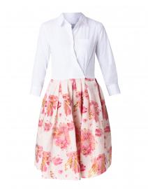 Elenat White and Pink Floral Jacquard Shirt Dress