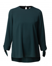Balamy Forest Green Blouse with Tie Sleeves