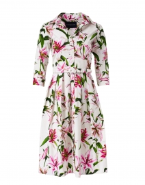 Audrey White Lily Printed Stretch Cotton Dress