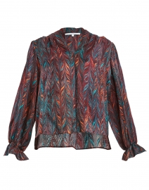 Marcel Red, Orange and Teal Brushstroke Print Silk Blouse