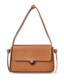 Maggie Cognac Leather Snap Closure Shoulder Bag