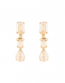 Gold Shadow Crystal Drop Clip Earrings