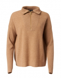 Camel Wool and Cashmere Zip Up Knit Sweater