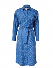 Girino Blue Petal Print Cotton Shirt Dress