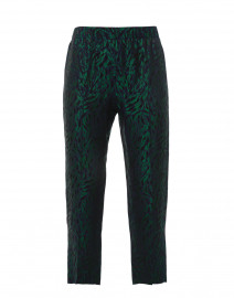 Navy and Green Leopard Printed Pull On Pant