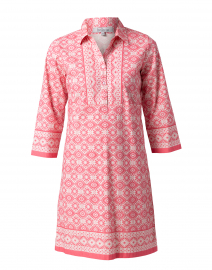 Claire Pink Ikat Stretch Cotton Shirt Dress