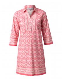 Claire Pink Ikat Stretch Cotton Shirt Dress