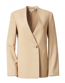 Straw Beige Collarless Blazer