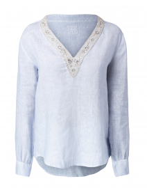 Sky Blue Embellished Linen Shirt