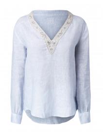 Sky Blue Embellished Linen Shirt