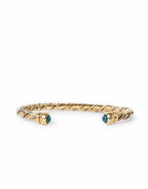 Gas Bijoux - Gold, Silver, and Green Intertwined Braided Cuff Bracelet