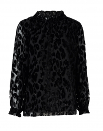 Black Lurex Leopard Velvet Burnout Top