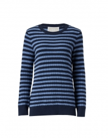 Navy and Blue Striped Cotton Sweater