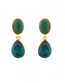 Emerald Crystal and Malachite Stone Drop Earrings