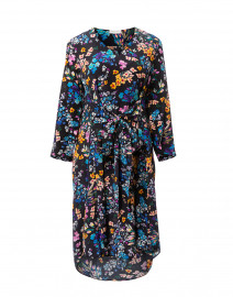 Ella Navy Floral Printed Silk Wrap Dress