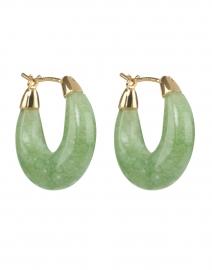 Dorthea Green Jade Stone Hoop Earring