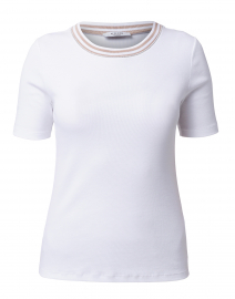 White Cotton Tee with Brown Striped Trim