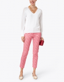 Kinross - White Cotton Pointelle Sweater