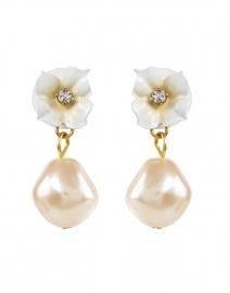 Soledad Flower and Champagne Pearl Drop Earrings