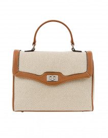 Lauren Light Brown Leather and Linen Bag