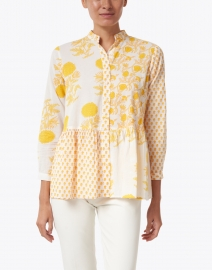 Ro's Garden - Chanderi Yellow Floral Cotton Top