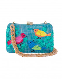 Marissa Turquoise Birds Embroidered Minaudiere
