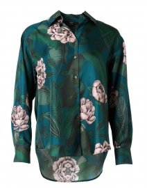 Green and Teal Floral Print Silk Blouse