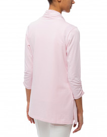 E.L.I. - Pale Pink Ruched Sleeve Cotton Cardigan
