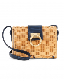 Caroline Navy Rattan Crossbody Bag