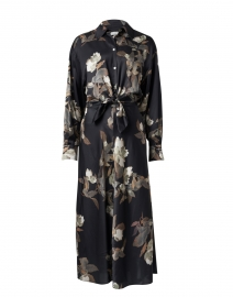Black Antique Floral Shirt Dress