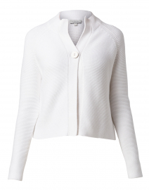 White Garter Stitch Cotton Cardigan