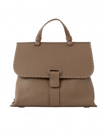Orleans Taupe Pebbled Leather Tote Handbag