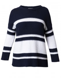 Navy and White Striped Cotton Sweater