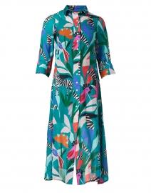 Panama Teal Print Silk Cotton Shirt Dress