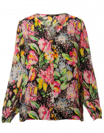 Laura Black Floral Print Silk Blouse