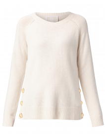 Ivory Wool Sweater with Gold Buttons
