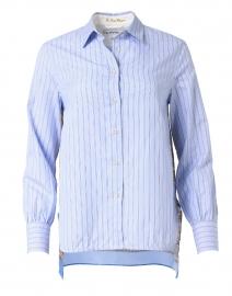 Blue and White Stripe Cotton Silk Shirt